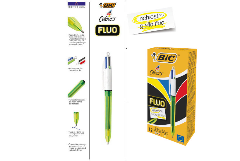 BIRO BIC 4 COLOURS FLUO P.M -12pz  933948 CON INCHIOSTRO GIALLO FLUO