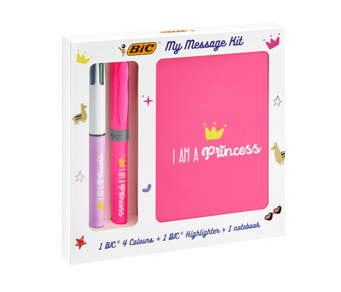BIC SPECIAL PACK KIT PRINCESS 4 COLOURS FLUO + EVID.GRIP 972089