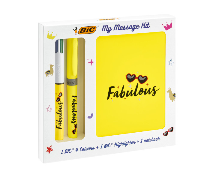 BIC SPECIAL PACK KIT FABULOUS 4 COLOURS FLUO + EVID.GRIP 972090