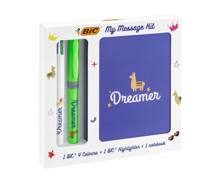BIC SPECIAL PACK KIT DREAMER 4 COLOURS FLUO + EVID.GRIP 972091