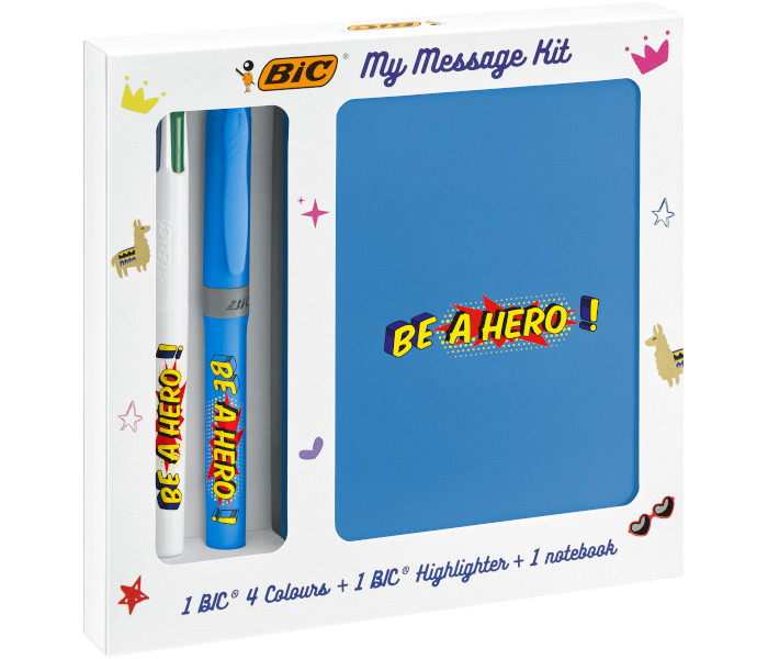 BIC SPECIAL PACK KIT HERO MESSAGE 4 COLOURS FLUO + EVID.GRIP 997977