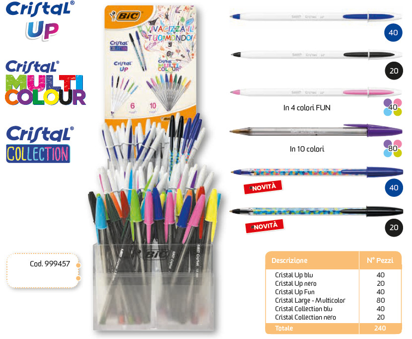 BIC EXPO CRISTAL UP/MULTICOLOUR/COLLECTION (100+80+60PZ) 999457