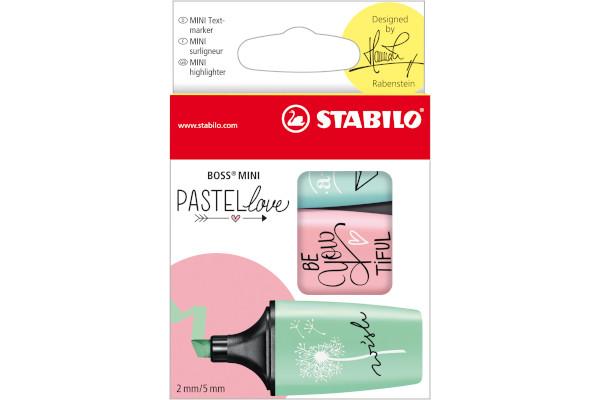 EVID.STABILO BOSS MINI PASTEL -3pz 07/03-57 zucchero/menta/rosa antico