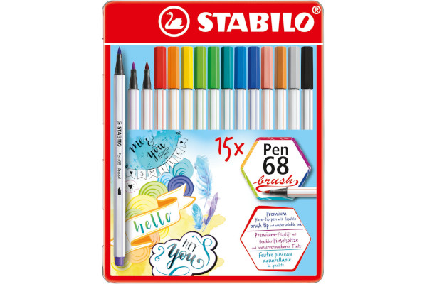STABILO PEN 68 BRUSH -15pz SCAT.METALLO 568/15-32