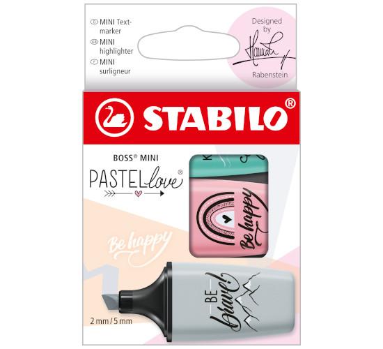EVID.STABILO BOSS MINI PASTELlove 2.0 3pz 07/03-49 grigio/rosa ant/zucch