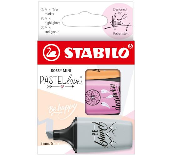 EVID.STABILO BOSS MINI PASTELlove 2.0 3pz 07/03-59 grigio/fucsia/papaya