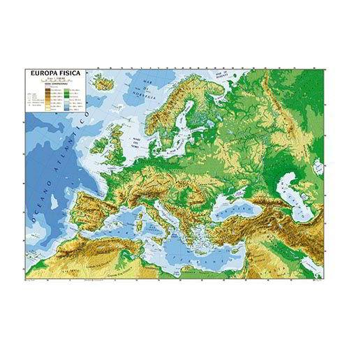 Cartina Geografica Europa Da Stampare.Carta Geografica 100x140 Europa 06991 Plastifiicata Fisico Politica A B C Group Srl
