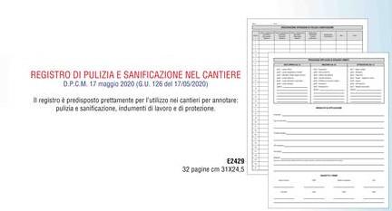 E2429 REGISTRO DI PULIZIA E SANIFICAZIONE NEL CANTIERE 32 PAGINE